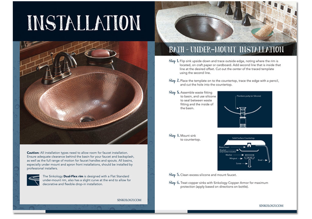 installation guide of undermount bathroom sink