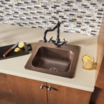 fullly installed drop-in bar and prep copper sink