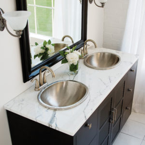 vanity view of his and hers drop-in copper bathroom sinks