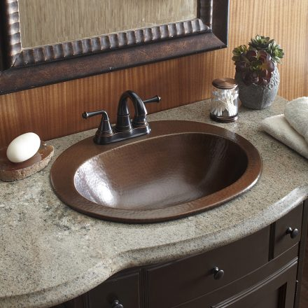 copper bathroom. drop-in copper sinks bathroom