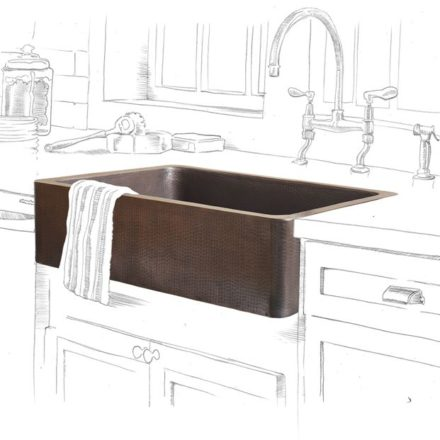 adams farmhouse apron front copper kitchen sink within a black and white kitchen drawing