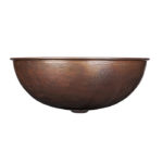 side view of eddington aged copper vessel sink