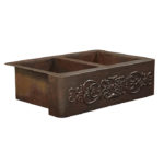 ganku farmhouse apron front copper kitchen sink with scroll embossment