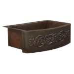 ersnst farmhouse apron front copper kitchen sink with scroll design embossment