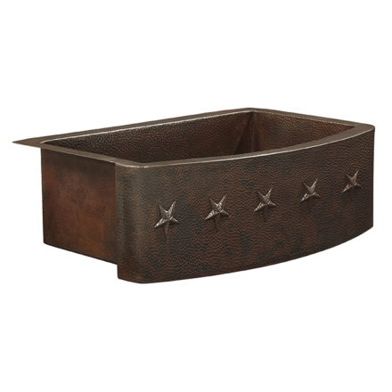 ernst farmhouse apron front copper kitchen sink with star embossment