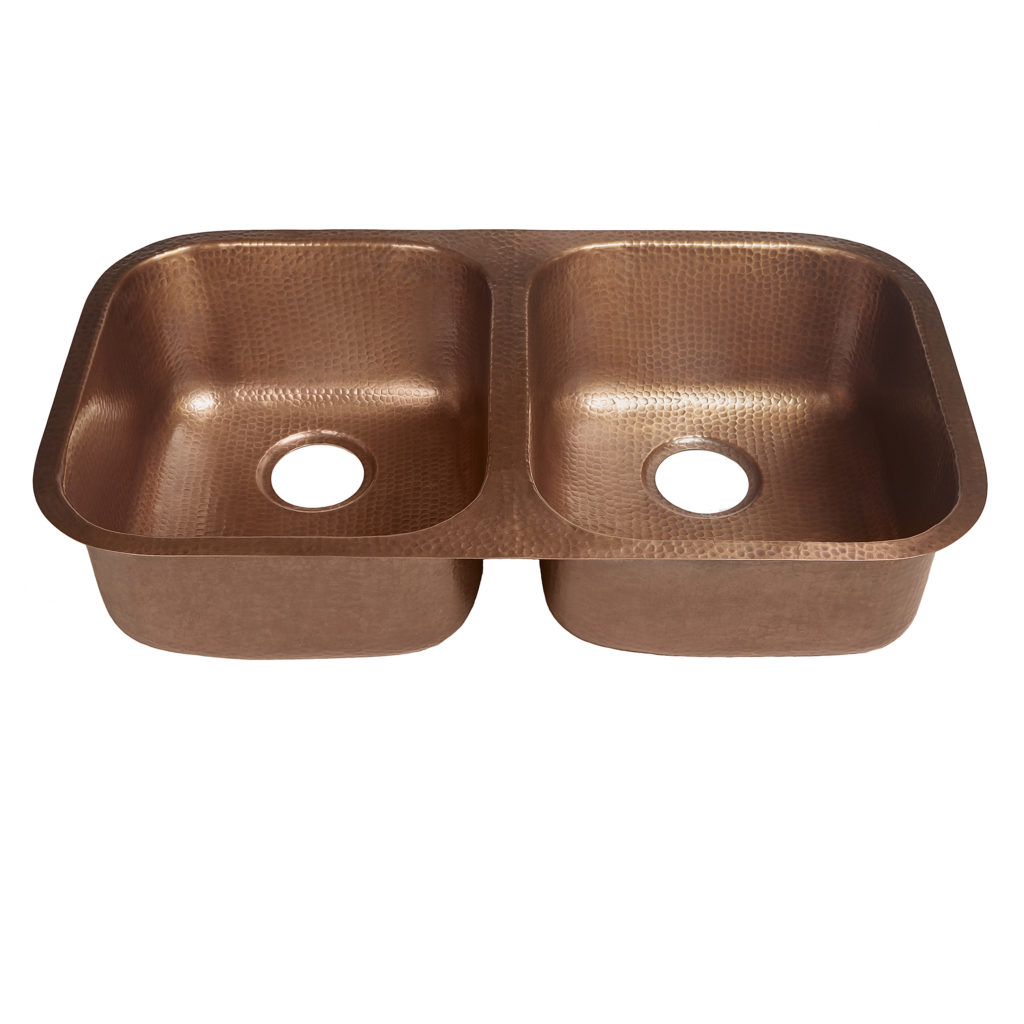 45 degree view of kandinsky undermount 16-gauge copper kitchen sink