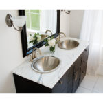 vanity view of his and hers edison drop-in nickel bathroom sinks