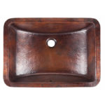 top view of curie undermount copper bathroom sink