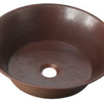 45 degree view of copernicus 21 copper vessel sink with handles