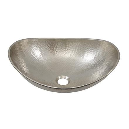 45 degree view of hobbes vessel hand hammered nickel sink