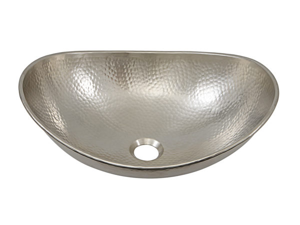 45 degree view of hobbes vessel hand hammered nickel sink