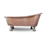 side view of heisenberg claw foot copper bathtub