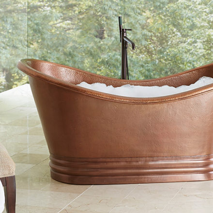 bathroom view of euclid copper bathtub