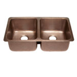 45 degree view of rivera undermount 16-gauge copper kitchen sink