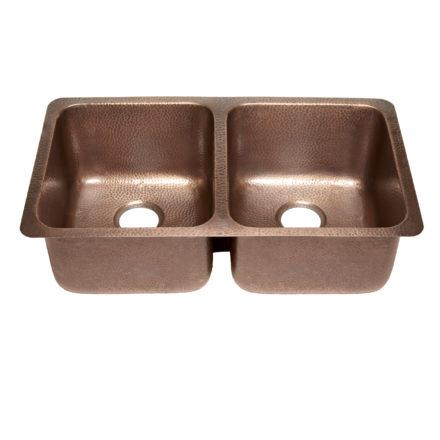 45 degree view of rivera undermount 16-gauge copper kitchen sink