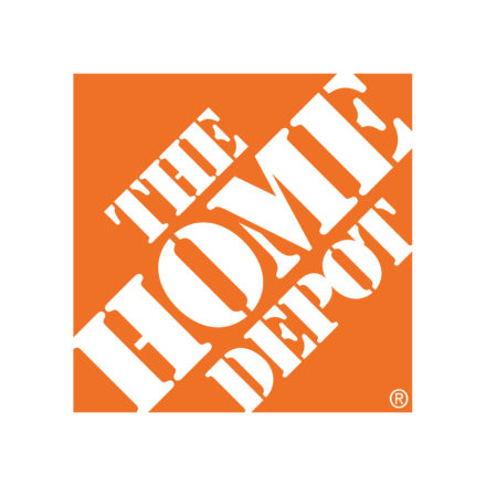 """THE HOME DEPOT"" with white lettering and orange background"