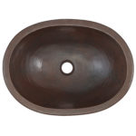 top view of wallace oval bowl undermount copper bathroom sink