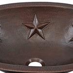 close up of embossed star design on franklin undermount copper bathroom sink