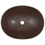 top view of maxwell oval vessel copper bathroom sink