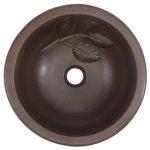 top view of newton drop in copper bathroom sink wit leaf design embossing