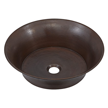 45 degree view of copernicus hand hammered copper vessel bathroom sink