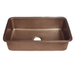 45 degree view of orwell undermount copper kitchen sink