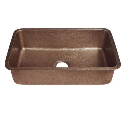 45 degree view of orwell undermount copper kitchen sink