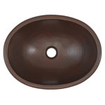 top view of schrodinger oval bowl drop-in copper bathroom sink