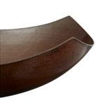 close-up of lovelace vessel copper sink rim