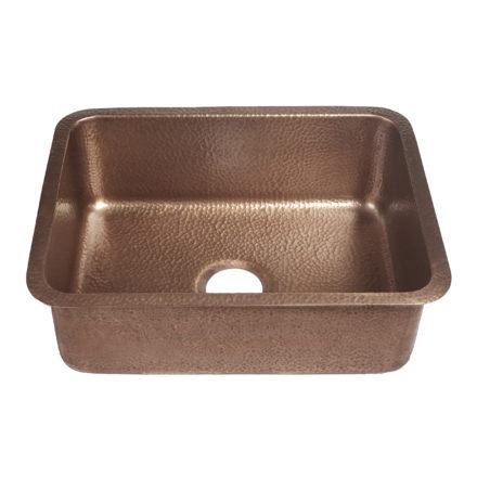45 degree view of renoir undermount 16-gauge copper kitchen sink