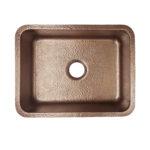 top view of renoir undermount hand hammered copper kitchen sink