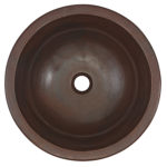 top view of darwin undermount circle bowl copper bathroom sink