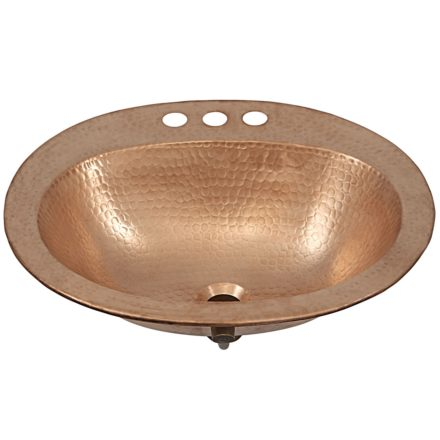 45 degree view of kelvin drop in copper bathroom sink