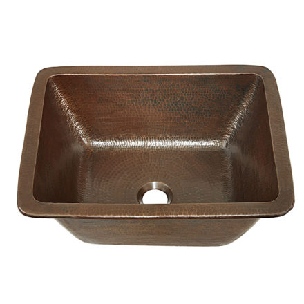45 degree view of hawking 17 undermount copper bathroom sink