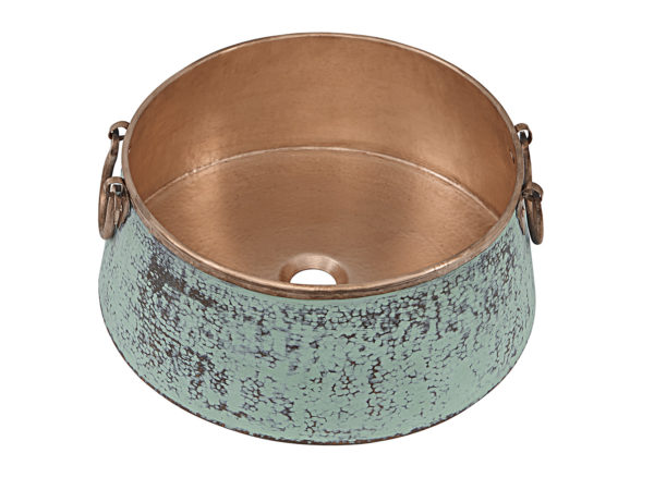 45 degree view of noble copper vessel bathroom sink with faux aged patina