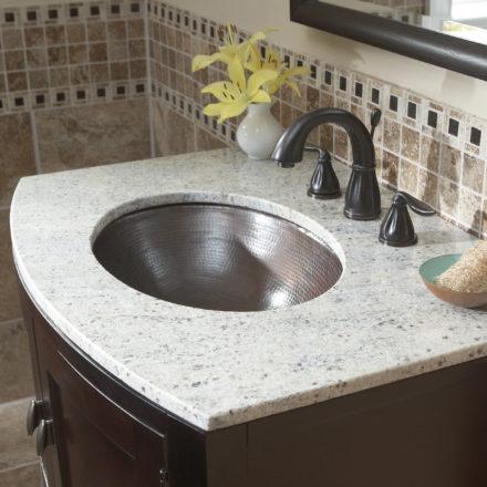 fully installed wallace undermount 18-gauge copper bathroom sink