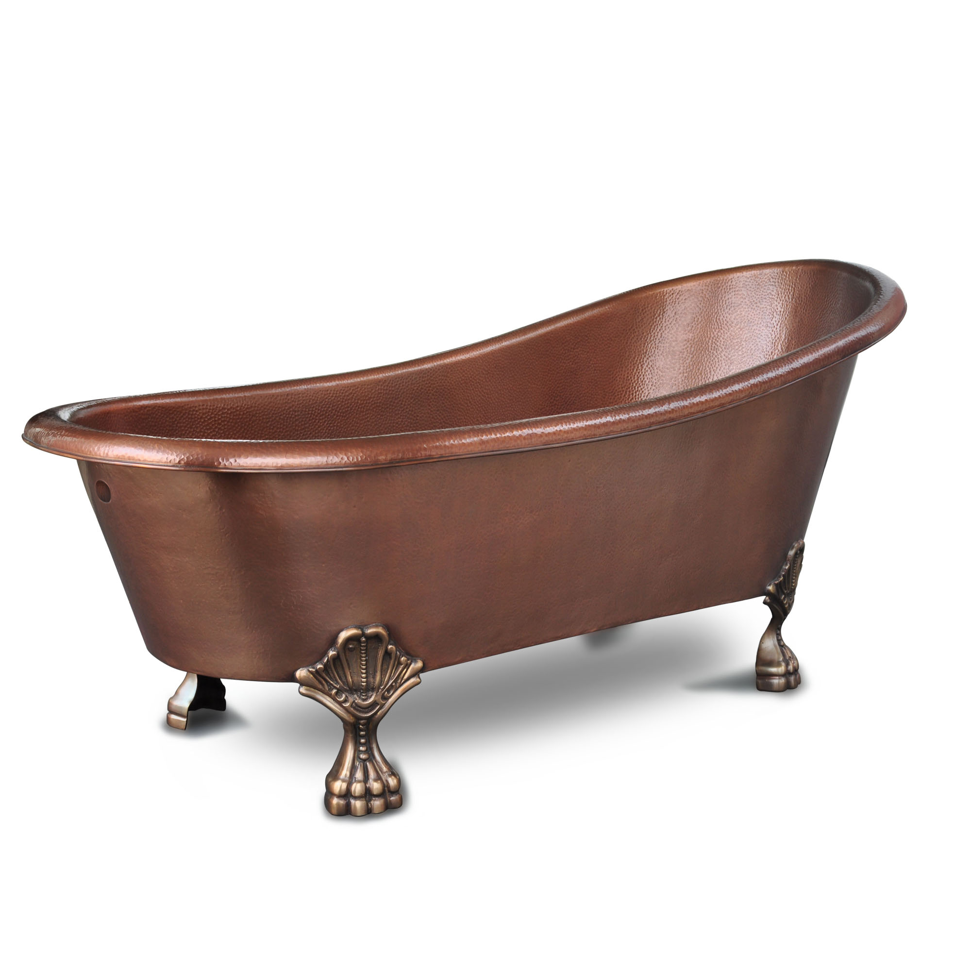 Heisenberg 14 Gauge Copper Clawfoot Bathtub With Overflow