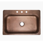 top view of the angelico drop-in copper kitchen sink