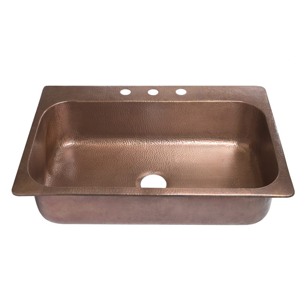 45 degree view of angelico drop-in copper kitchen sink