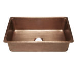 45 degree view of david undermount 16-gauge copper kitchen sink
