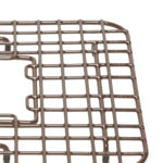 close-up of heavy duty dishwasher safe 7 gauge steel gehry kitchen sink bottom grid
