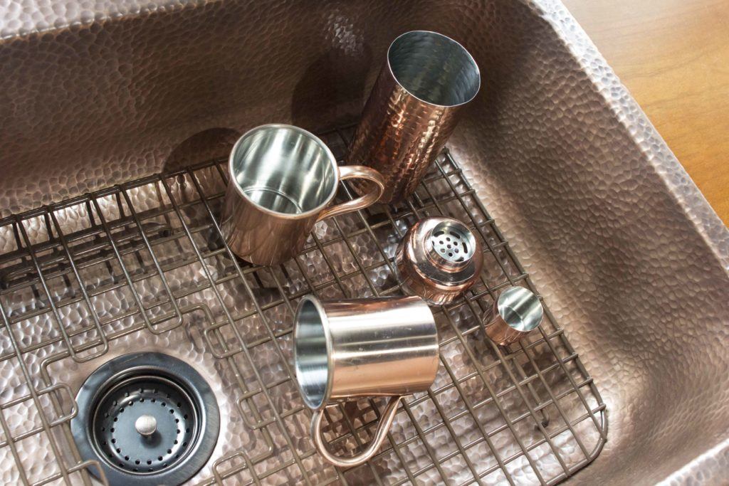 Great Angelico Copper Kitchen Sink Grid Lifestyle Image. U201c