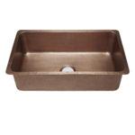 45 degree view of david undermount 16-gauge copper kitchen sink