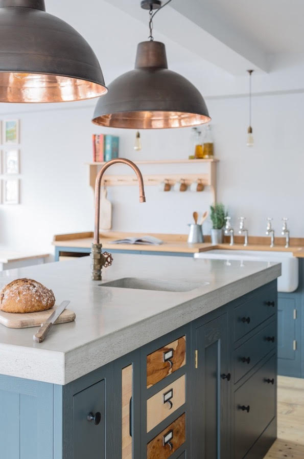 Kitchen Island With Copper Sink And Faucet Other Accents