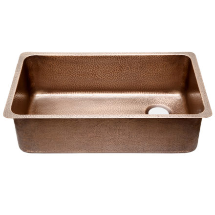 45 degree view of david cherf-series-16-gauge copper kitchen sink