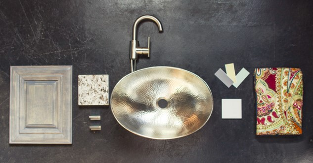 hobbes nickel sinkology sink with faucet and other bathroom design elements