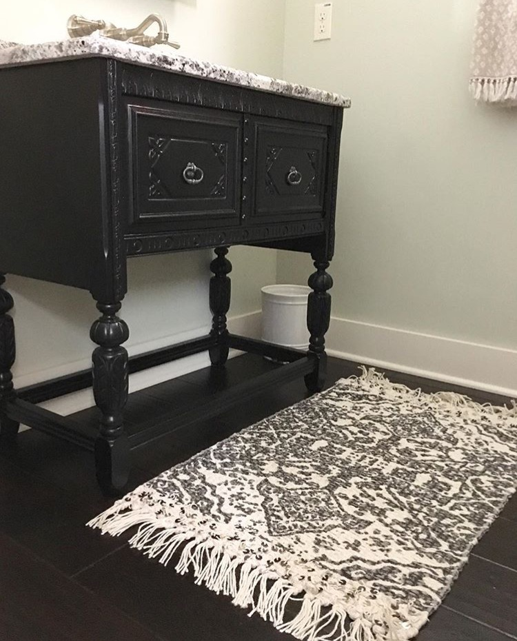 black and white bathroom wall floor and rug