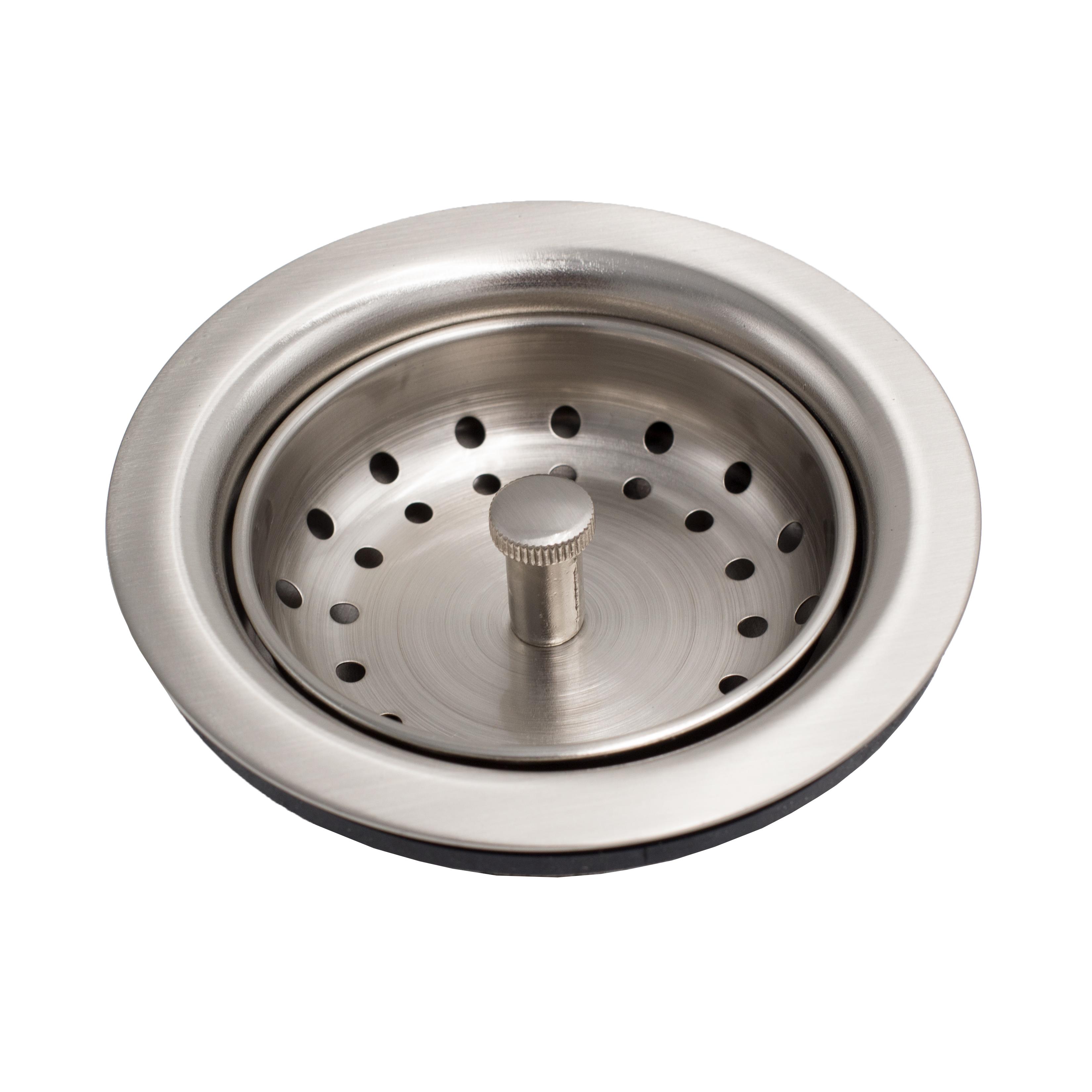 kitchen sink basket strainer drain in nickel sinkology