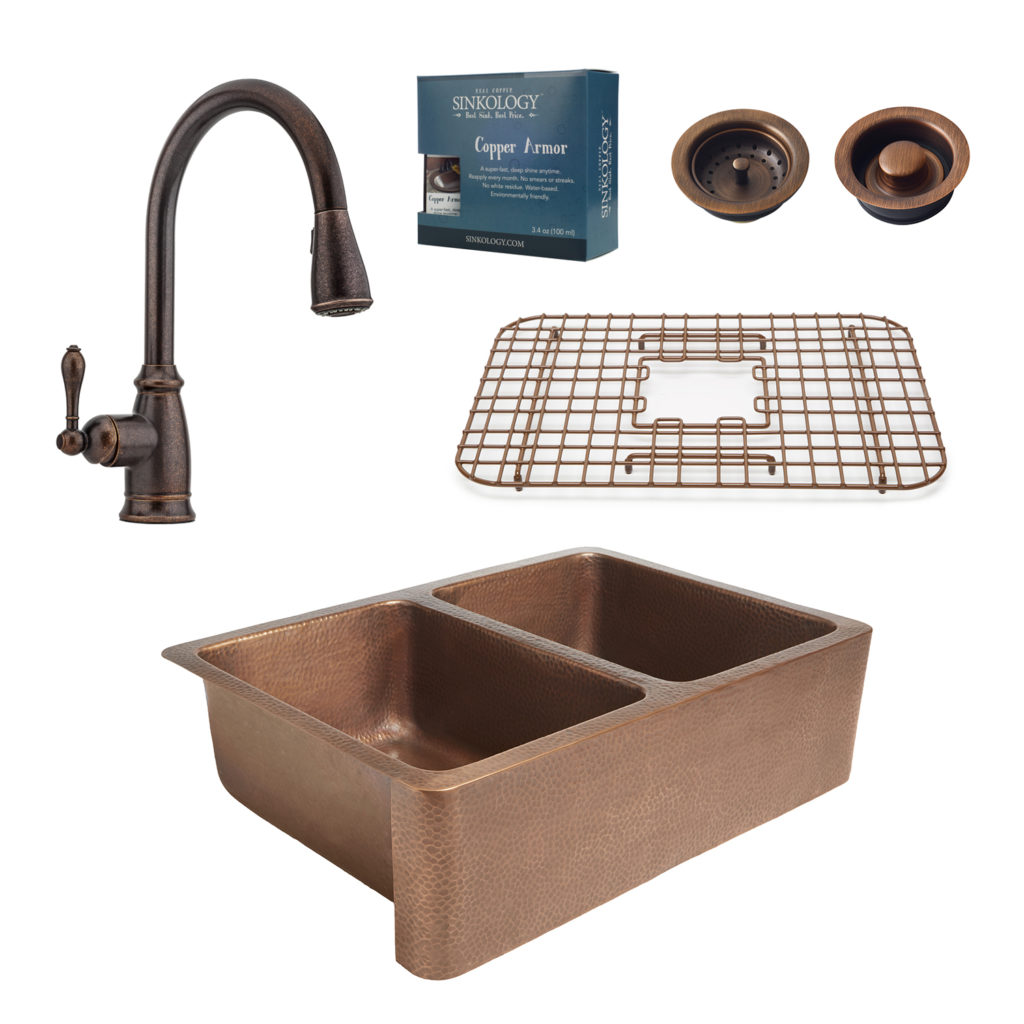 Sinkology Rockwell Farmhouse Kitchen Sink and Pfister Bronze ...