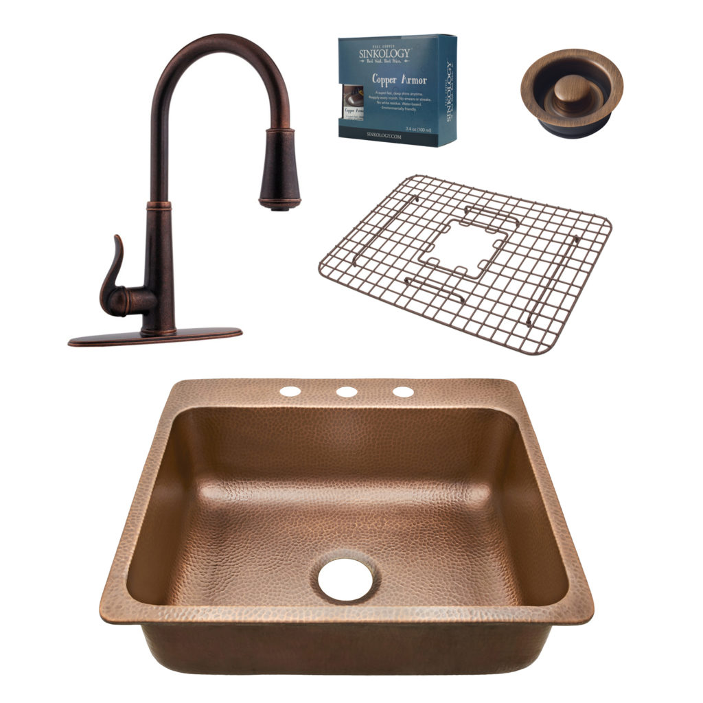 rosa all in one 3 hole drop in sink and faucet kit disposal drain rh sinkology com Kohler Stainless Steel Kitchen Sink Black Kitchen Sink Faucets